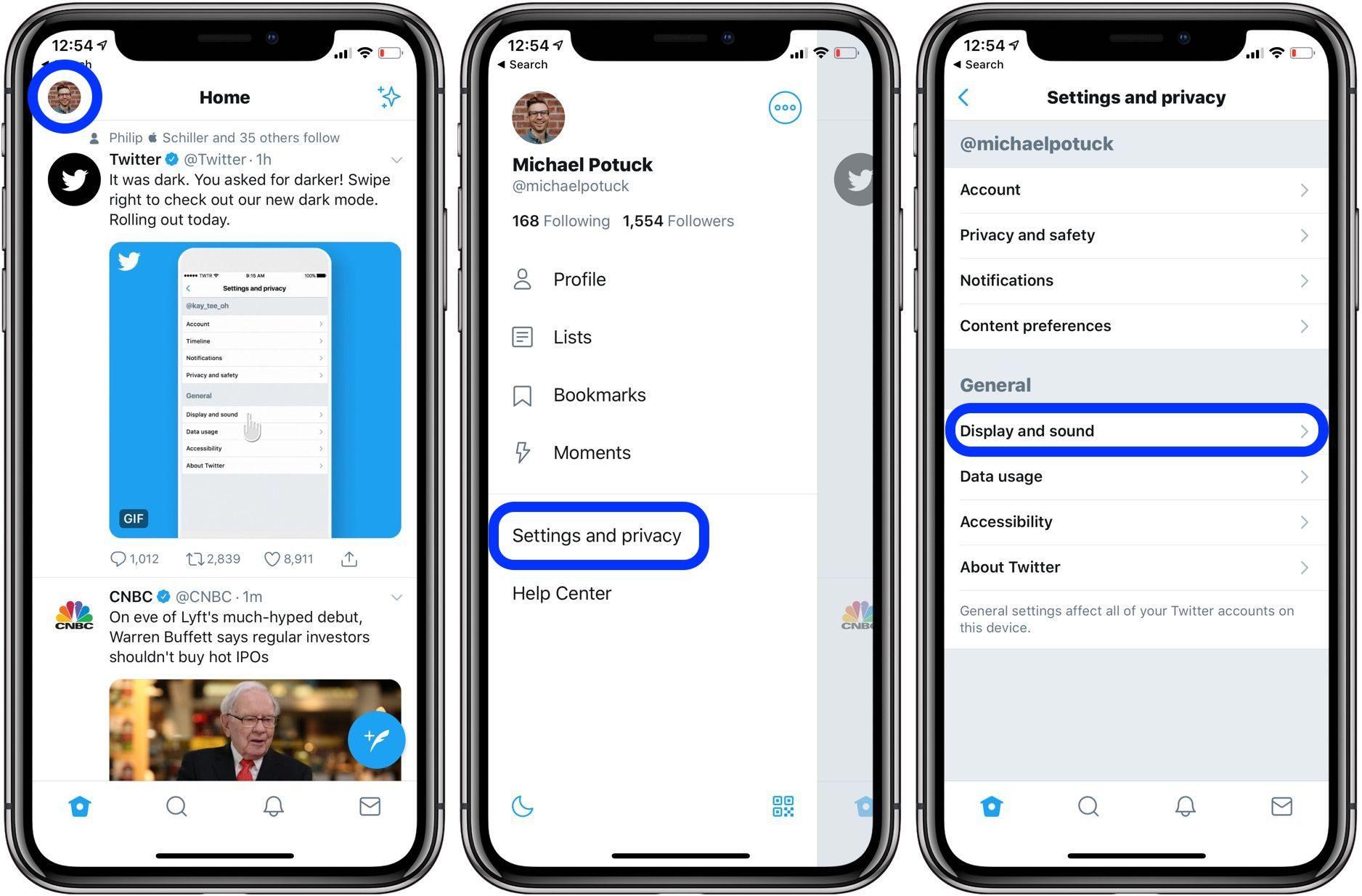 """<span href=""""https://9to5mac.com/2019/03/28/twitter-black-dark-mode-iphone/"""">Cómo usar Twitter automático y negro oscuro modos en iPhone</a>"""