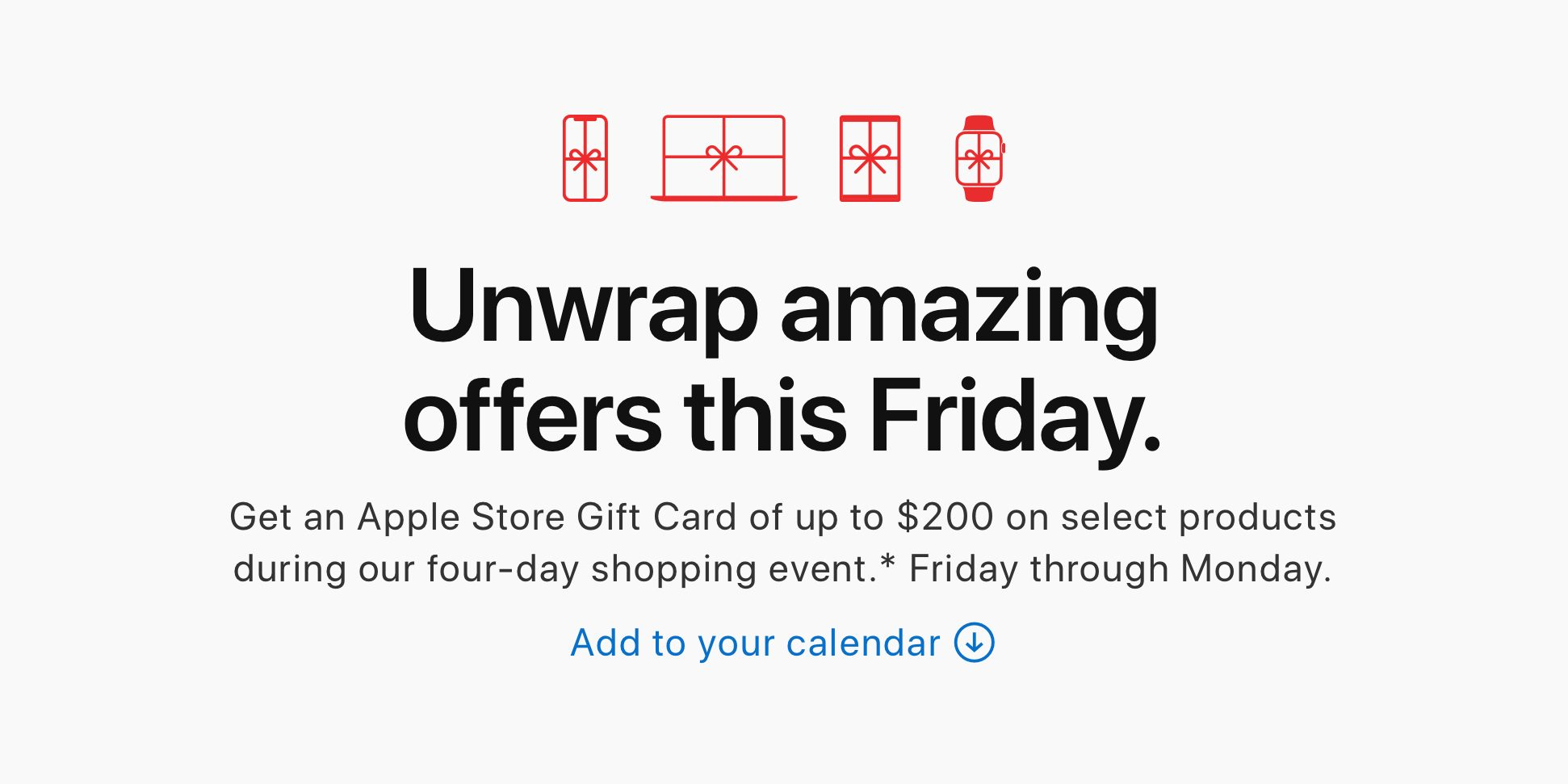 """<span href=""""https://9to5mac.com/2019/11/25/apple-black-friday-2019/"""">Apple anuncia su viernes Negro ofertas: hasta $200 en la Tienda de Apple tarjeta de regalo con la compra de un equipo</a>"""