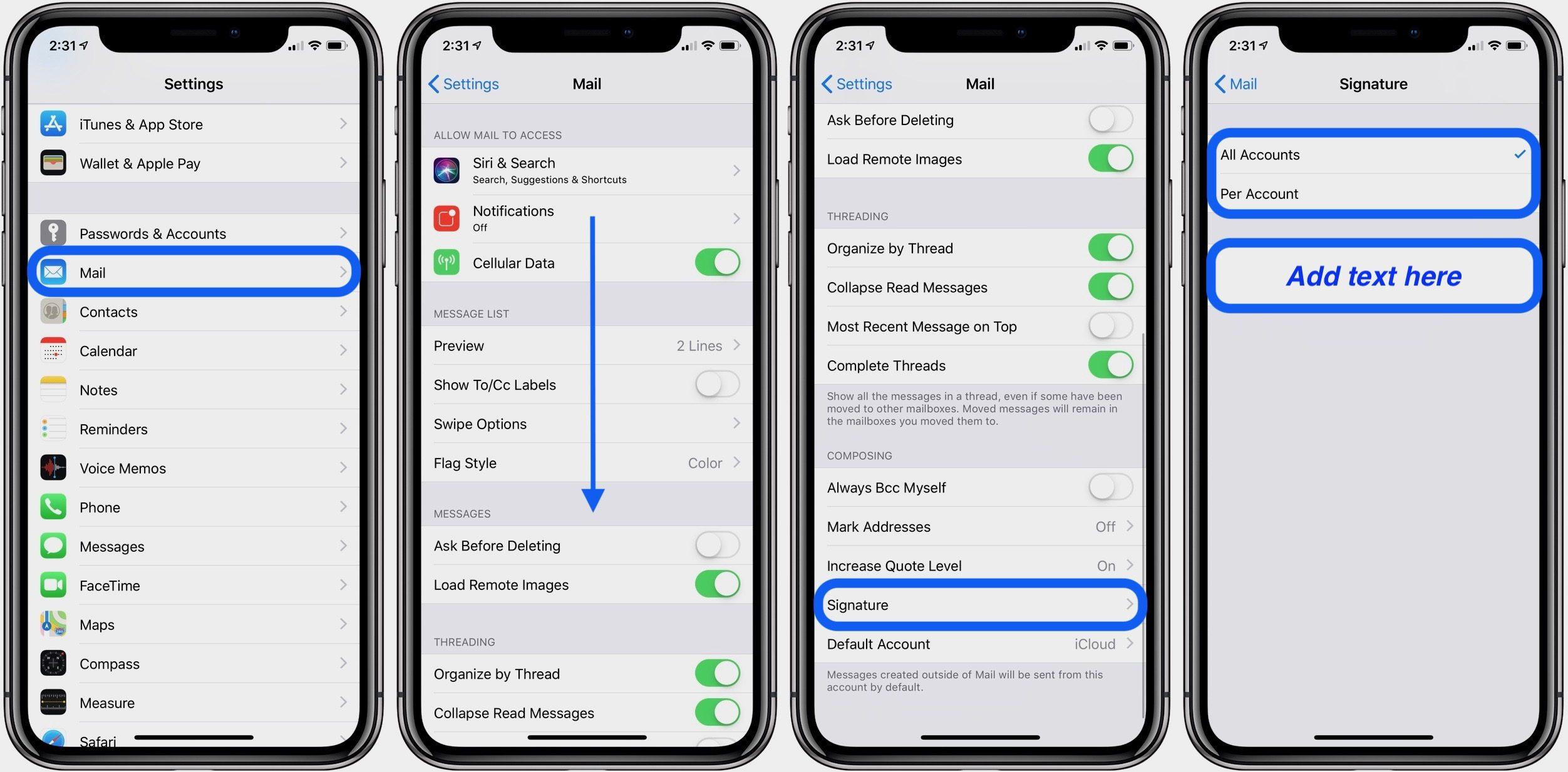 """<span href=""""https://9to5mac.com/2018/10/08/email-signatures-on-iphone/"""">¿Cómo agregar firmas de correo electrónico en el iPhone y el iPad</a>"""