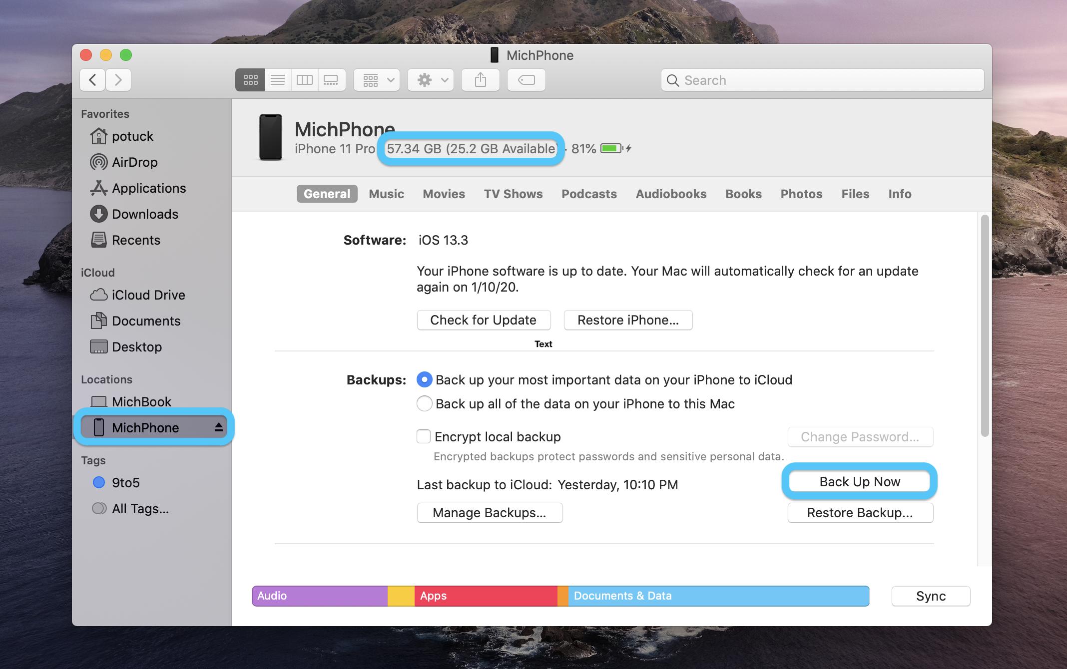 """<span href=""""https://9to5mac.com/2020/01/09/how-to-backup-iphone-mac-catalina/"""">Mac: Cómo hacer copia de seguridad de su iPhone en macOS Catalina</a>"""