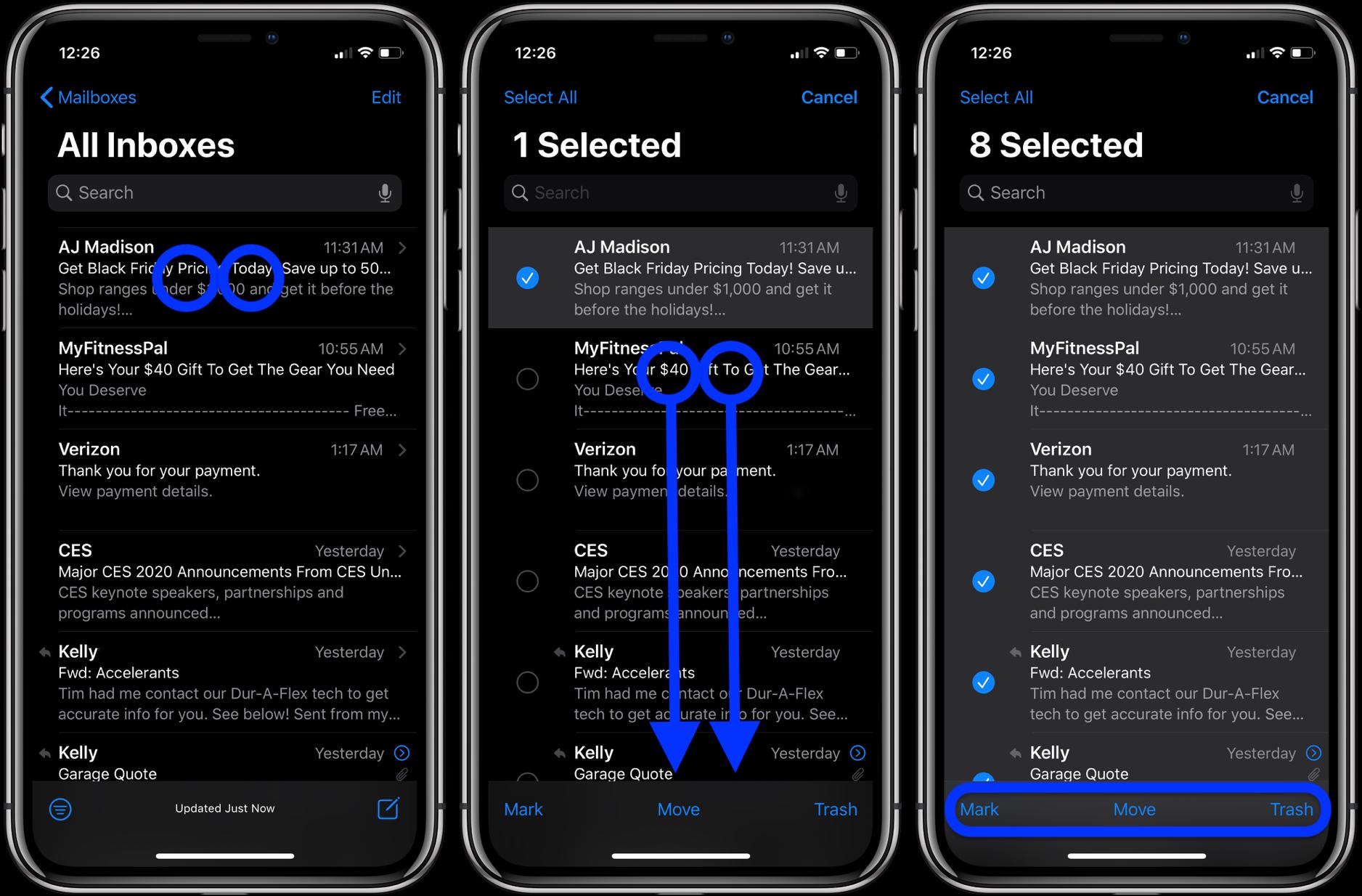 """<span href=""""https://9to5mac.com/2019/11/08/how-to-quickly-move-delete-emails-iphone-ipad-tap-gesture/"""">Cómo seleccionar, mover, eliminar varios mensajes de correo electrónico en el iPhone, iPad w/ toque con dos dedos</a>"""