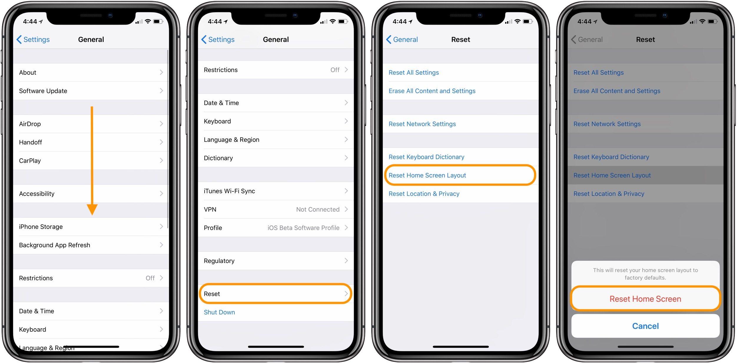 """<span href=""""https://9to5mac.com/2018/04/03/how-to-restore-home-screen-to-the-default-layout-on-iphone/"""">¿Cómo restaurar el valor predeterminado de la Casa de diseño de pantalla en el iPhone y el iPad</a>"""