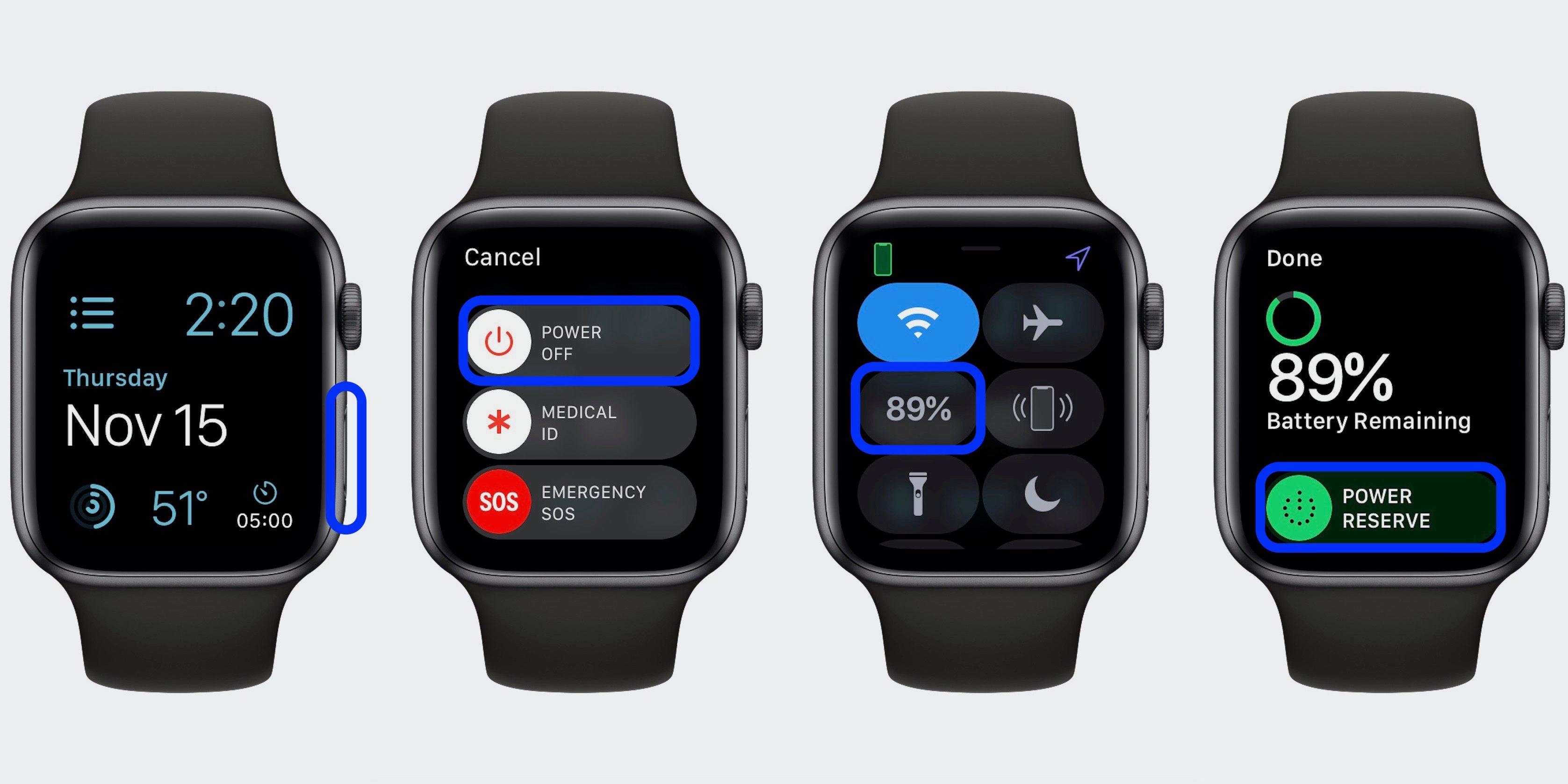 """<span href=""""https://9to5mac.com/2018/11/15/how-to-turn-apple-watch-on-and-off/"""">Cómo activar el Apple Watch encendido y apagado</a>"""