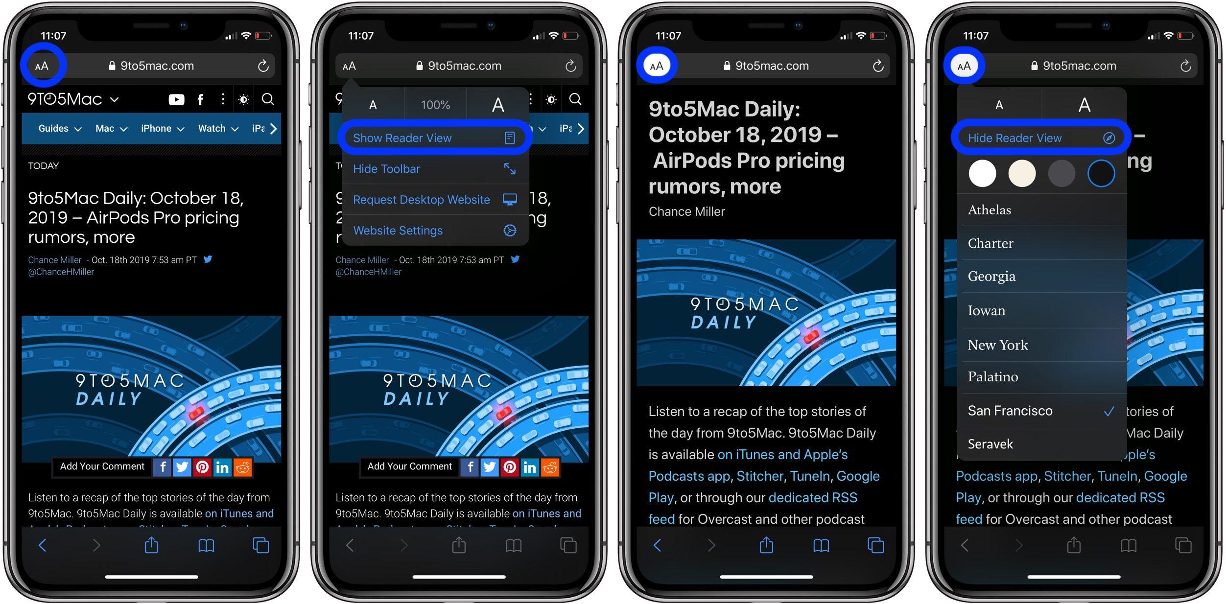 """<span href=""""https://9to5mac.com/2019/10/18/how-to-use-reader-view-iphone-ipad-ios-13/"""">iOS 13: Cómo utilizar el Lector de Vista en el iPhone y el iPad</a>"""
