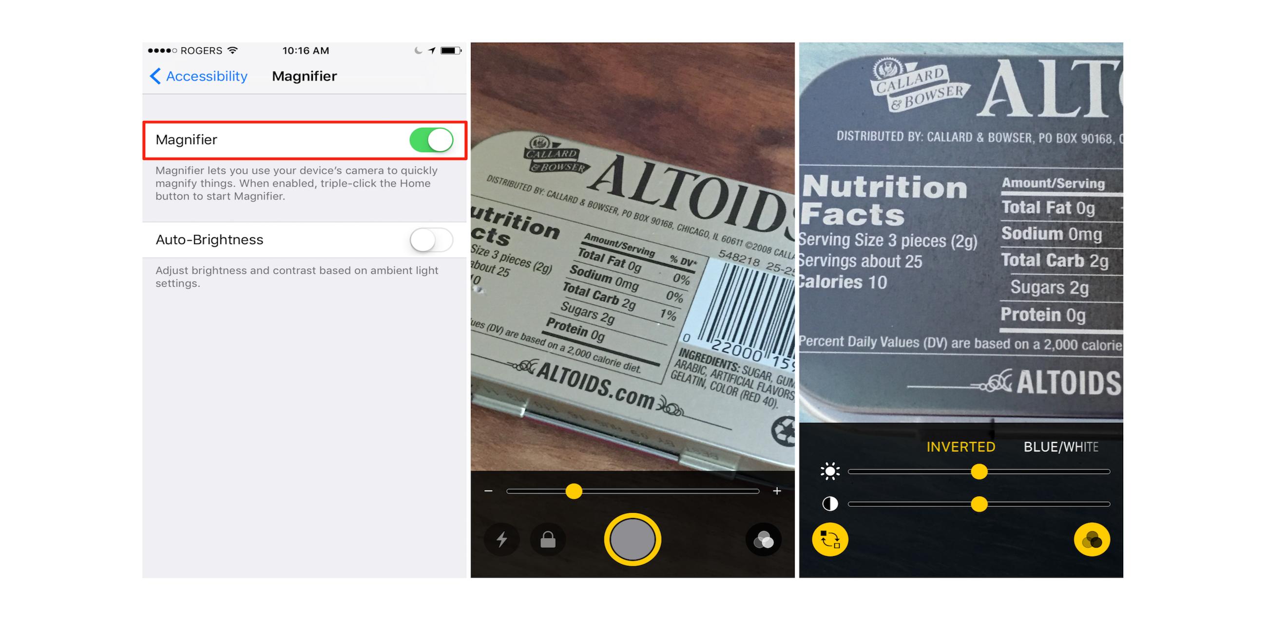 "<span href=""https://9to5mac.com/2016/09/26/how-to-use-ios-10-magnifier-magnifying-glass-iphone/"">Cómo utilizar iOS 10 ocultas de la 'Lupa' lupa característica para iPhone</a>"