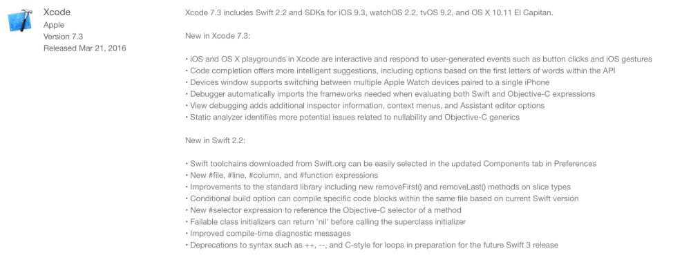 """<span href=""""https://9to5mac.com/2016/03/21/apple-releases-xcode-7-3-with-better-code-completion-and-support-for-latest-sdks/"""">Apple lanza Xcode 7.3, con la mejor de finalización de código y soporte para el último Sdk</a>"""