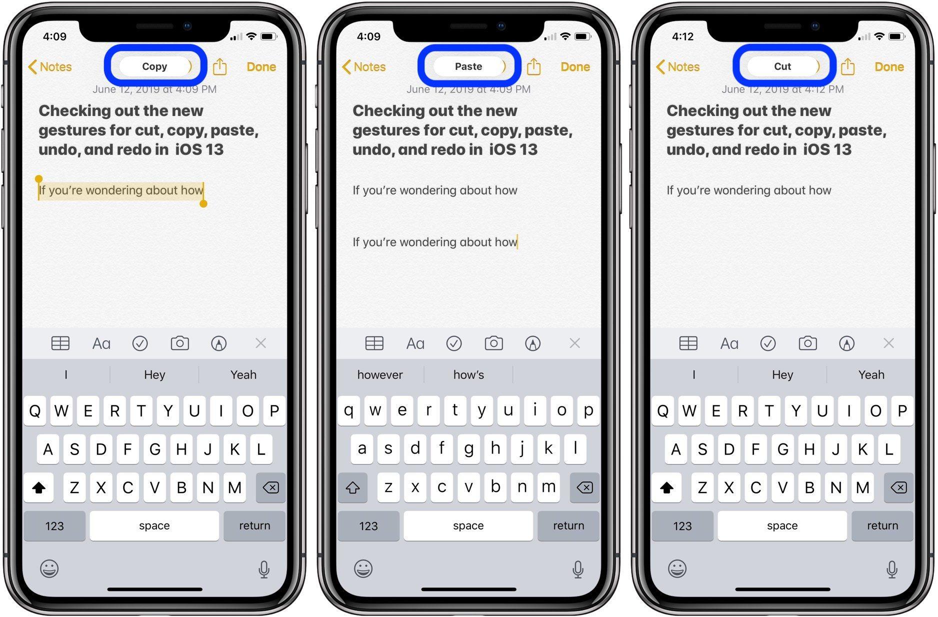 """<span href=""""https://9to5mac.com/2019/06/12/gestures-undo-ios-iphone-ipad/"""">iOS 13: Cómo utilizar los nuevos gestos para cortar, copiar, pegar y deshacer en el iPhone y el iPad</a>"""